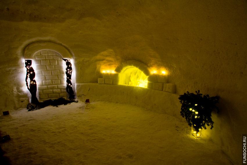 Интерьер снежного отеля