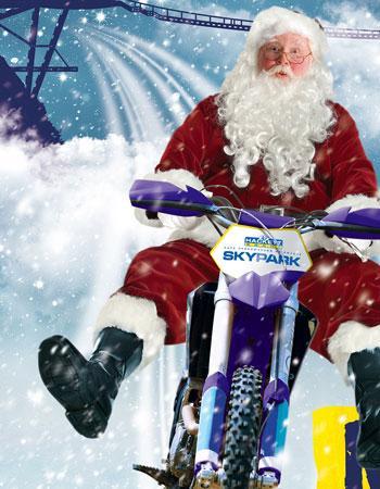 Уникальный полет Деда Мороза на мотоцикле в Скайпарке
