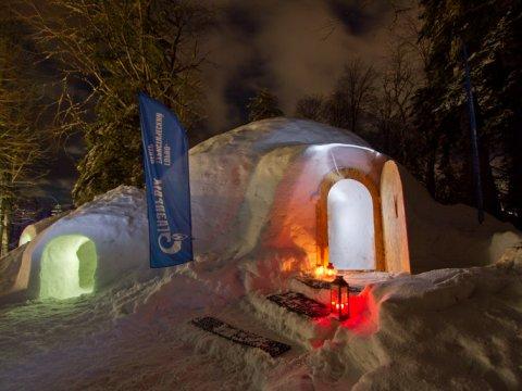 Иглу отель из снега на Газпроме
