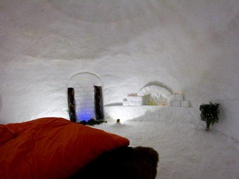 Интерьер отеля из снега на Газпроме