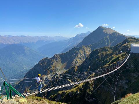 Самый длинный подвесной мост в горах Сочи