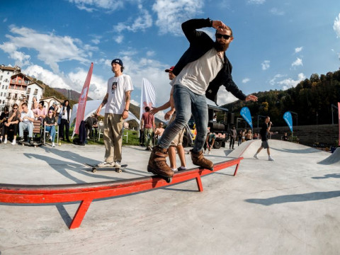 Скейт площадка на курорте Красная Поляна